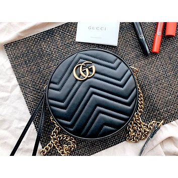 GUCCI 2019 new love round cake bag small round bag shoulder bag black