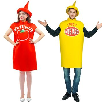 2017 New customized free size tomato ketchup Costume spicy mustard Costume  With Hat top costumes Halloween Couples costumes