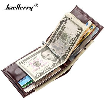 Luxury Leather Money Clip Wallet Men Slim Billfold Magnetic Men Wallets Small Clamp for Money Clips Holder Mini Coin Card Purse