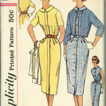 Simplicity 2459 Sewing Pattern Retro 50s 60s Mad Men Style Wiggle Dress Cropped Bolero Jacket Plus Size Full Figure Bust 38