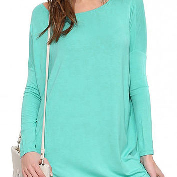 Turquoise Casual Long Sleeves Dress