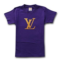 LV Louis Vuitton Fashion Men Casual Hot Letter Print T-Shirt Top Blouse Purple