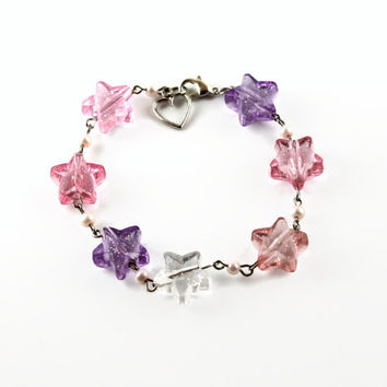 Kawaii Fairy Kei 4 Color Pink Purple and White Glitter Star Bracelet