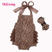 Baby Clothing 2016 Cotton Summer Leopard Belt Lace Ruffles Rompers Clothes Newborn Girls Baby Girl Romper Roupas Bebes Rompers