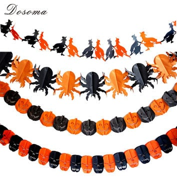 Halloween Paper Chain Garland Mini Pumpkin Bat Ghost Spider Skull Plastic Wreath Props Halloween Garland Decoration Supplies