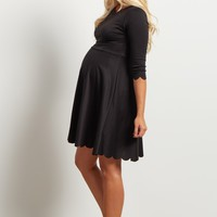 Black-Solid-Scalloped-Hemline-Dress