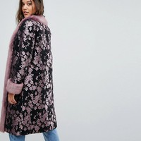 Dolly & Delicious Premium Embroidered Oversized Coat With Fluffy Trim Detail at asos.com