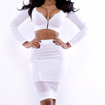 Women Fashion White 2 piece Zipper Spandex and Mesh Crop top and Mini Skirt Small and Medium