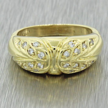 Vintage Estate 18k Solid Yellow Gold .20ctw Diamond Wide Band Ring 5.4g