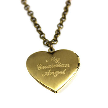 Engraved Heart Locket Necklace, Personalized Locket Necklace, Name Necklace, Christmas Gift, Anniversary Gift, Gold Tone Locket Necklace
