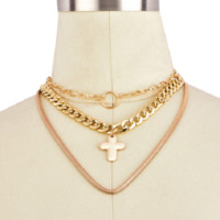 "13"" gold 3 layer pendant chain necklace"
