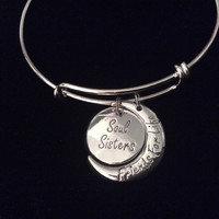 Friends For Life Soul Sister Expandable Charm Bracelet Silver Adjustable Bangle Trendy Best Friend Gift BFF