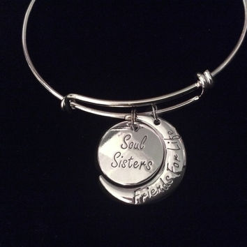 Friends For Life Soul Sister Expandable Charm Bracelet Silver Ad 8ddb40710c28