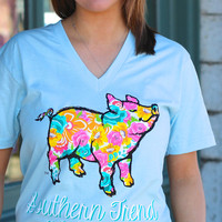 Floral Proud Pig by SOUTHERN TREND {Light Blue}