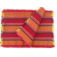 Set of 4 Striped Placemats / Vintage Bohemian Table Pads With Colorful Stripes and Fringed Edges / Boho Chic / Perfect for Summer!
