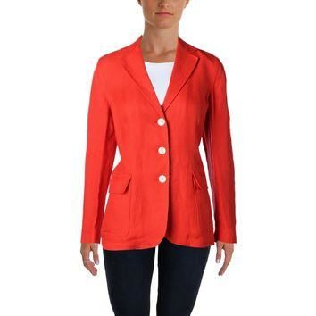 Lauren Ralph Lauren Womens Linen Herringbone Three-Button Blazer