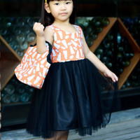 Halloween Tutu Dress, Black and Orange girl's dress with matching trick or treat bag, good witch costume, girl's dress