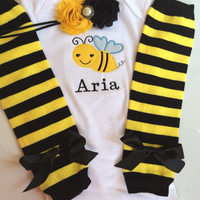 Baby Girl Outfit - bumble bee 1st birthday outfit - personalized baby girl outfit - bee stripe legwarmers - personalized bee outfit