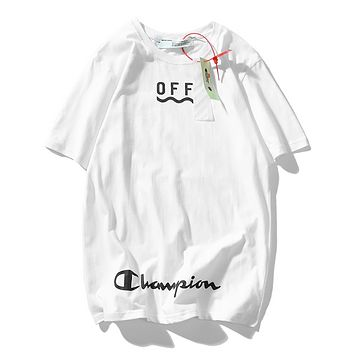 Off White & Champion Fashion New Summer Letter Stripe Print Women Men Top T-Shirt White