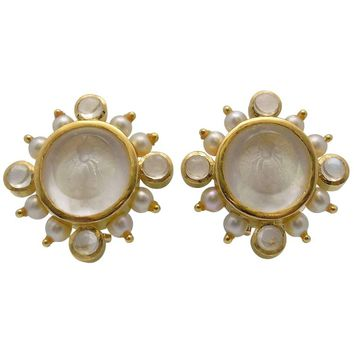 "Elizabeth Locke 18 Karat Yellow Gold Clip/Pierced Mother-of-Pearl ""Bee"" Earrings"