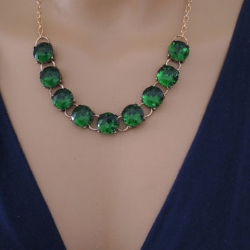 Emerald Necklace - Crystal Necklace - Gold Necklace - Layering Necklace - Bridal Necklace - Rhinestone Necklace - handmade jewelry