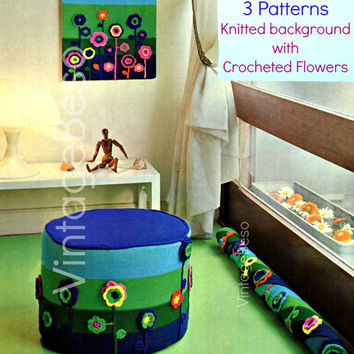 3 Patterns Wall Panel POUF Draught Excluder 1970's Vintage KNITTING and CROCHET Pattern Decoration Set is sunshine anytime of the year Pdf