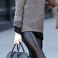 Wool Leather Pants Suit