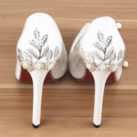 Woman High Heels Pumps Red Bottom High Heels 12CM  Shoes High Heels Summer Rhinestone Shoes Leather Sandals Wedding Shoes