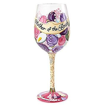 "Lolita Glassware from Enesco Mother of The Bride Wine Glass, 9"", Multicolor"