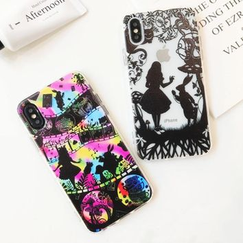 Silhouette Figure Alice In Wonderland Clear Soft TPU Silicone Cover Case For iPhone X 8 6 6S 7 Plus