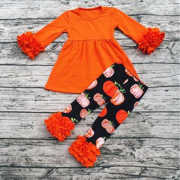 Aicton Fall Winter Kids Clothing Sets Baby Halloween Pumpkin Clothes Set Halloween Boutique Outfits For Girls