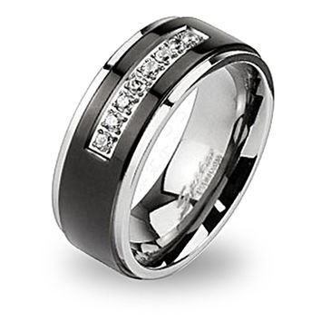 Spikes Solid Titanium Black IP CZ String Band Ring