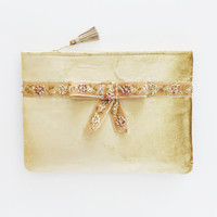 FLAIR 2 / Beige velvet clutch bag with embroidered pearl bow - Ready to Ship