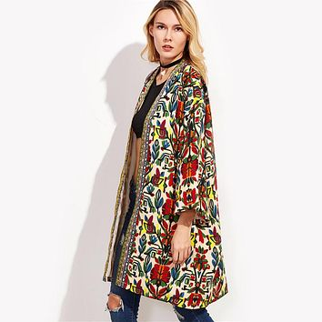 European Trench Coat Women Basic Coats Colorful Open Front Outerwear With Tribal Print Tape Detail 3/4 Sleeve Coat