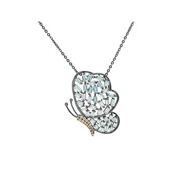Sparkling Baguette Midnight Butterfly Necklace