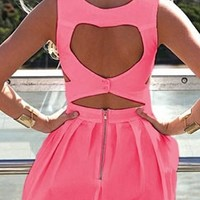Neon Coral Pink Heart Cut Out Back Sweetheart Sleeveless Flare Mini Dress