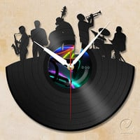 vinyl wall clock - jazz band