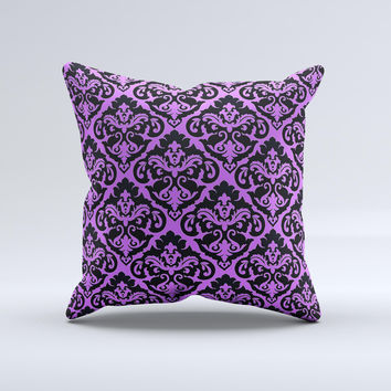 Black & Purple Delicate Pattern Ink-Fuzed Decorative Throw Pillow
