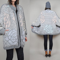 vtg ROSE knit 80's COCOON sweater COAT oversized pastel jumper shaggy draped cozy pixelated