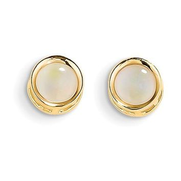 14k Yellow Gold 5mm Round Bezel Genuine Australian Opal Stud Earrings