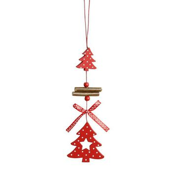 Home Christmas Decoration Beautiful Wood Chip Tree Ornaments