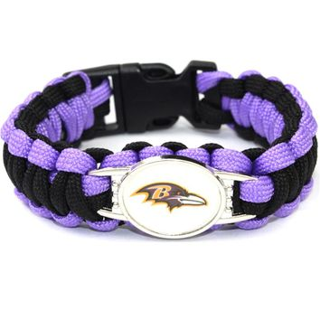USA Football Fans Baltimore Ravens Team Paracord Survival Bracelet Friendship Outdoor Camping Bracelet Drop shipping 6pcs/lot