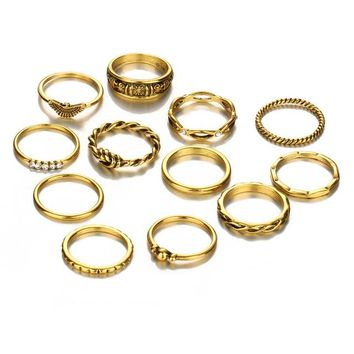 IF ME 12pcs/Lot Eagle Crystal Gold Color Ring Set For Engagement Women Jewelry Midi Finger Rings Party For Girls Anillos Gifts