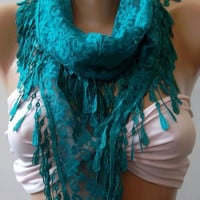 Turquoise / Elegance  Shawl / Scarf with Lacy Edge..