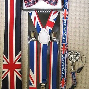 UK British Flag Y-Back Suspenders,UK Lanyard,UK Neck Tie & UK British Bow Tie-v1