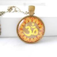 Namaste Yoga jewelry Om necklace Picture pendant Yoga necklace Glass tile image pendant Om jewelry Unique gift for her under 15