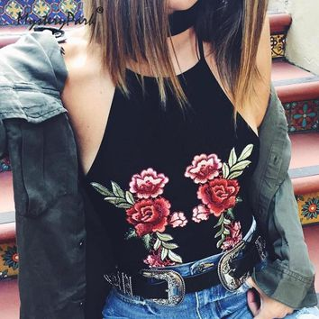 MysteryPark Summer Womens Black Embroidered Rose Patch Party Camis Tops Vintage Backless Halter Crop Tops