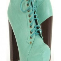 Blue Faux Leather Lace Up Chunky Heel Booties