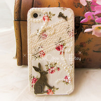 Original Retro Rabbit Lace Phone Case by TwinkleCase on Etsy