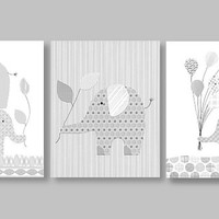 Elephant Nursery, Complements Pottery Barn Taylor Bedding, Reese, Safari Friends, Gray and White Nursery